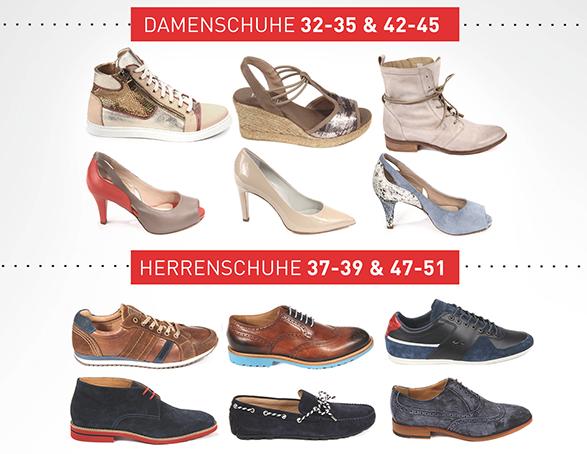 Schuhe Übergrößen, Untergrößen, Herrenschuhe, Damenschuhe